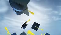 学士帽毕业证等毕业典礼视频素材1