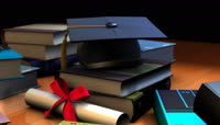 学士帽毕业证等毕业典礼视频素材2