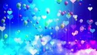 六一儿童梦幻桃心气球LED背景视频素材