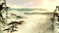 中国风水墨画西山落日