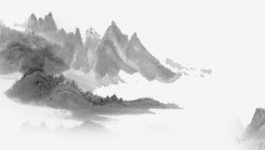 中国风水墨乡村池塘