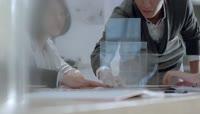 设计师画图纸客服与客户沟通合作握手视频素