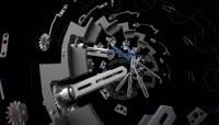 超强3D空间金属感拼接机械手表高清视频