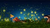 儿童活动星空夜景蘑菇萤火虫LED背景视频