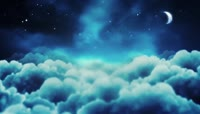 弯弯的月亮白云飘