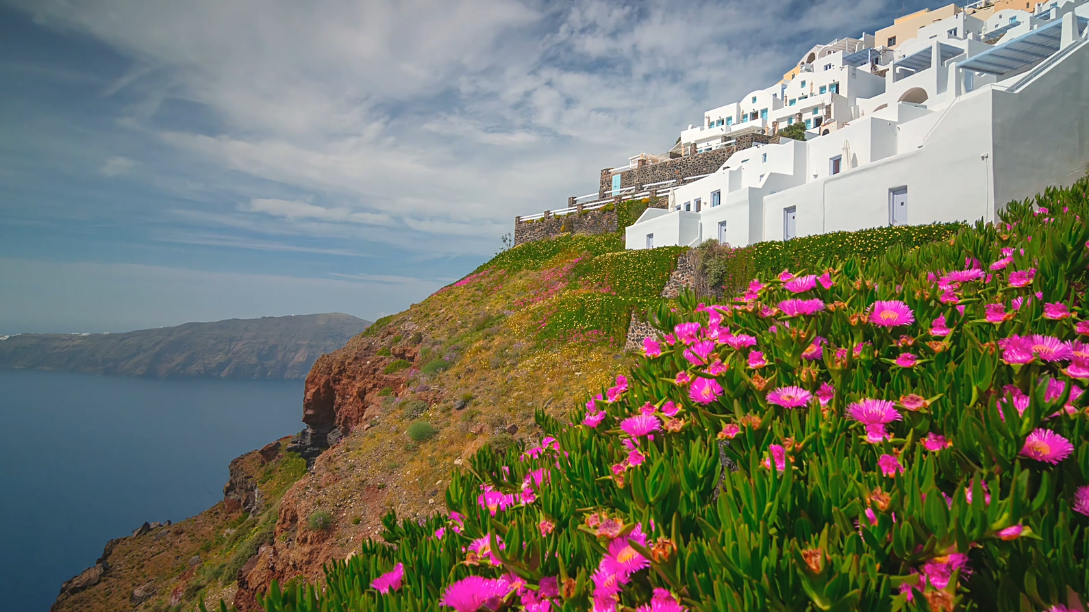 超清4k 希腊 爱情海 圣托里尼岛 美丽爱情海 希腊岛屿 美丽风光 希腊风情 希娜建筑 海岛风光