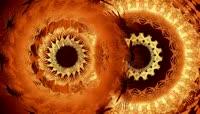 橙棕色花纹转轮变换迷乱层叠视觉