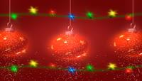 59下雪的转动红色吊球和节日灯饰灯泡
