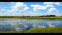草原小河蓝天白云