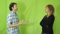 Couple arguing\.绿布抠像素材