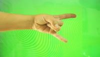 Hands and fingers showing sign of rock, goat, heavy metal on green screen绿布抠像素材