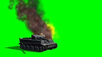 Tiger 1 Tank fires and gets a hit 1 绿布抠像素材