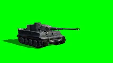 Tiger 1 Tank fires different Views绿布抠像素材