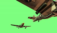 Mustang b and d 2x formation landing animation poser 1080p 绿布抠像素材