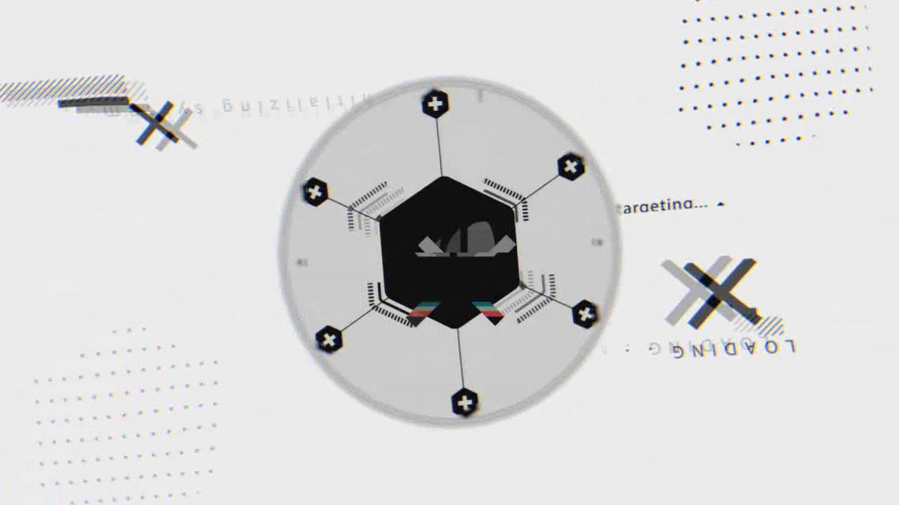 0001\-创意线条图形标志MG动画AE模板 抽象毛刺数字失真展示时髦LOGO