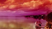 夕阳 美景 湖泊 岛屿
