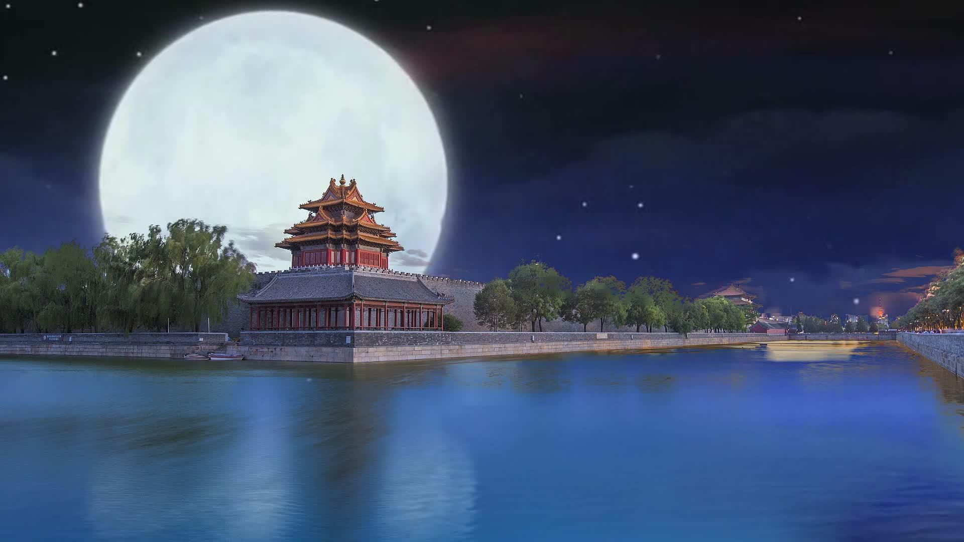 素材 月色下的紫禁城