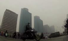 城市污染实拍北京雾霾天气