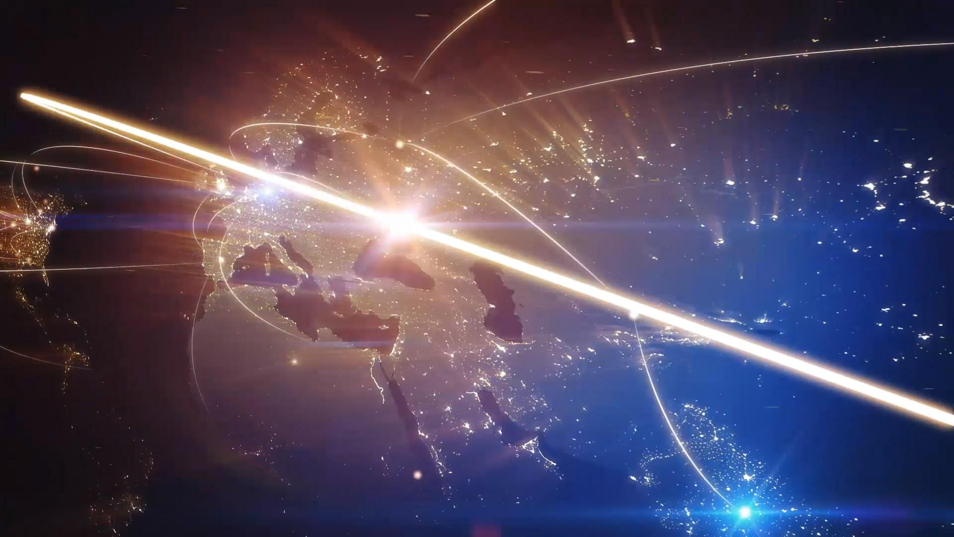 a 2三维光线全球连接AE模板
