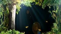 高清唯美森林绿3D幻影全息晚会LED视频素材