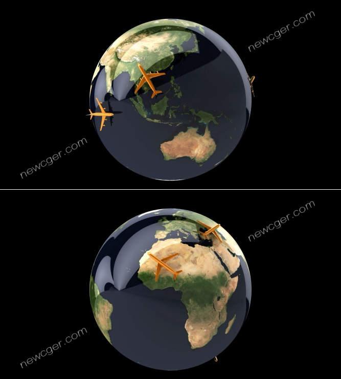 earth\-alpha象征着全球交通运输的循环视频素材,含AE源文件