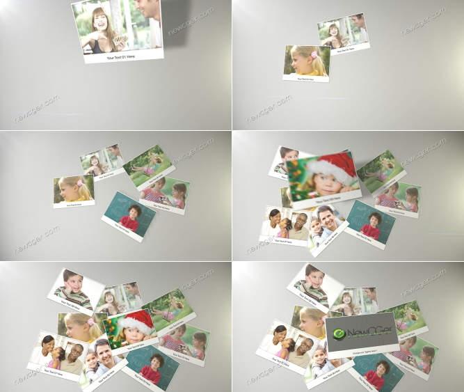 相片从空中掉落并堆叠在一起的AE模板