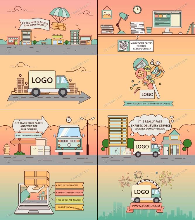 创意线框样式的卡通风格产品推广动画AE模板