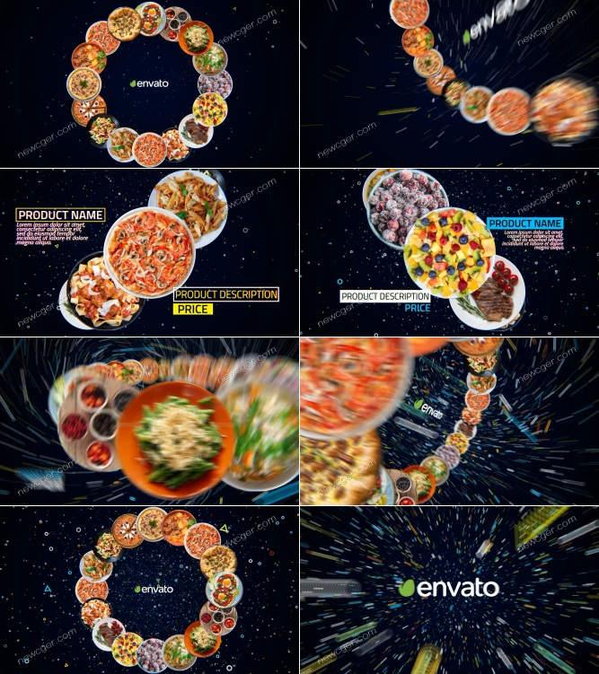 4K级餐厅新菜品推广展示AE源文件,长短2版入
