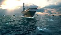 大气震撼的海上航母舰队三维
