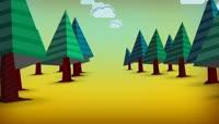 可爱卡通树林背景视频