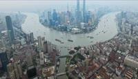 ST01108上海地标建筑东方明珠塔黄浦江轮船络绎不绝