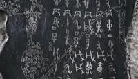 ST00809殷墟博物馆历法卜骨碑林甲骨文古汉字象形字