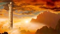 ST00113华表中国大气八一十一七一建国建党建军国庆红旗国旗华表云海夕阳