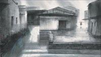 ST00296小城雨巷锦上南京水墨画水彩画江南河流房屋建筑