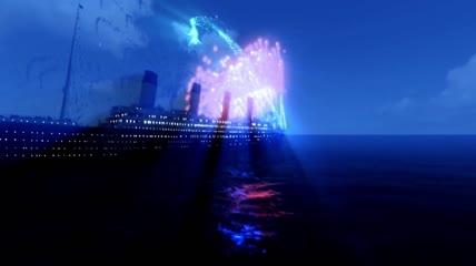 ST00245泰坦尼克号传说故事轮船游轮餐厅大海蓝天云飞鸟飞翔天空天使夕阳日出太阳阳光烟花爆竹礼花礼炮红云舵钢琴太平洋大西洋