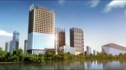大气建筑三维生长城市形成特效高端商业大楼