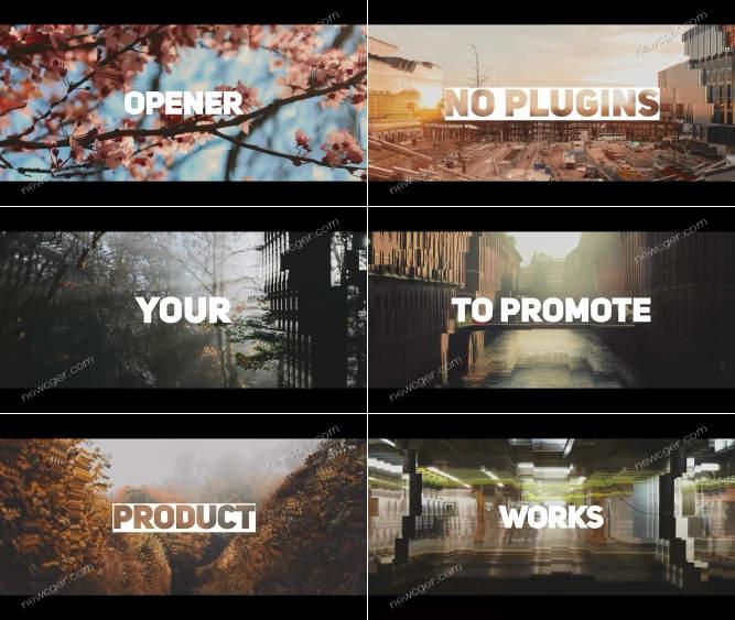 干净大标题与三维图像视效快速展示的片头AE源文件