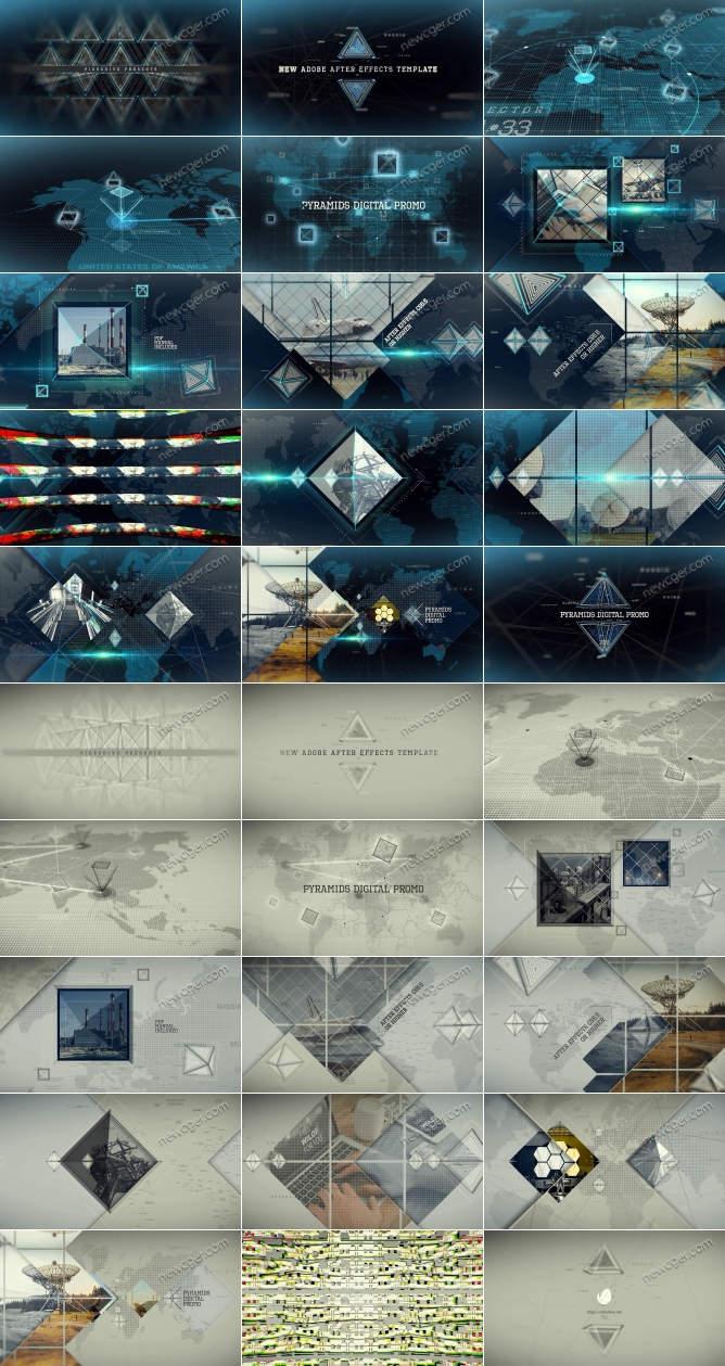 数字科技金字塔立方体主题宣传片AE模板,黑白2色入