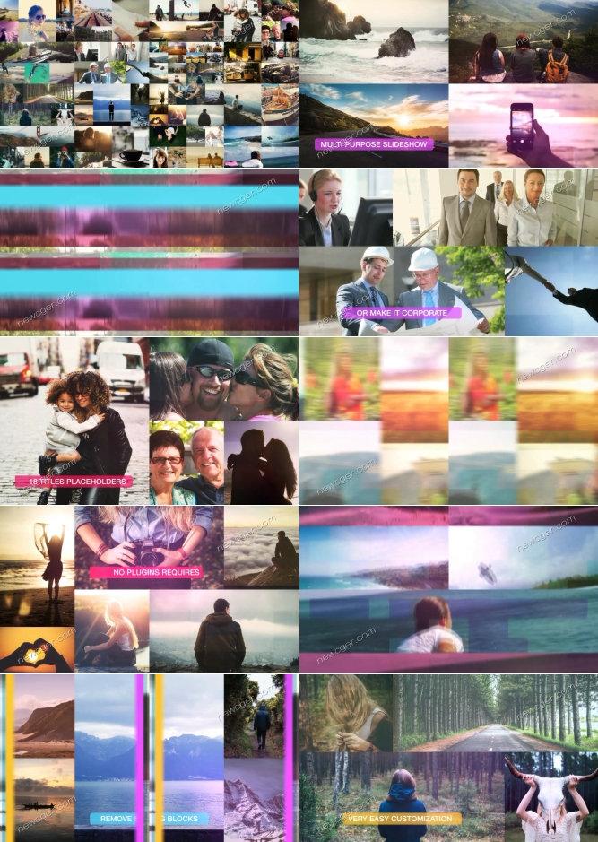 欢乐彩色转场和多图像单画面组合展示的AE源文件,长短2版入