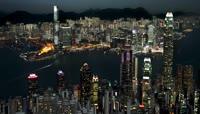 香港城市建筑夜景灯光秀节奏感配乐