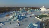 哈尔滨冰雪节冰雕灯光城堡雕刻旅游风光高清视频实拍