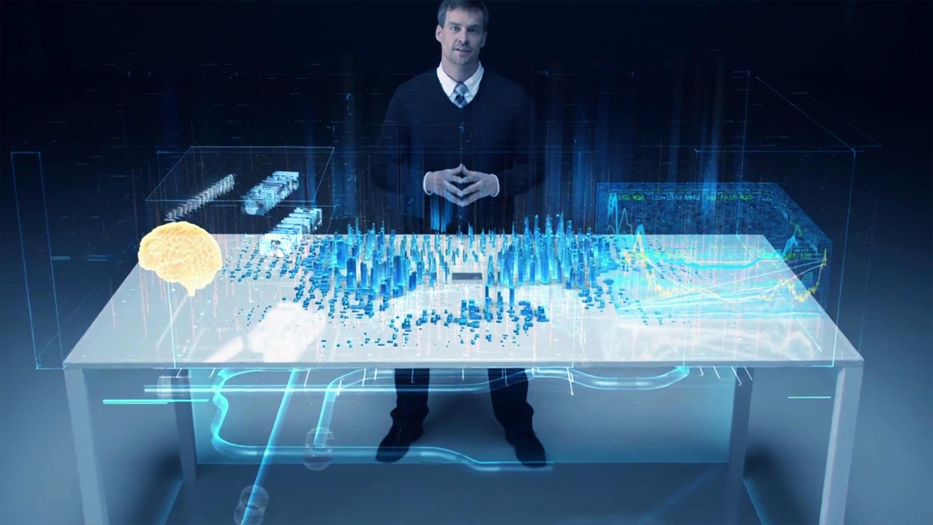 超强技术虚拟场景建筑大脑未来科技发展蓝图宣传片高清视频实拍
