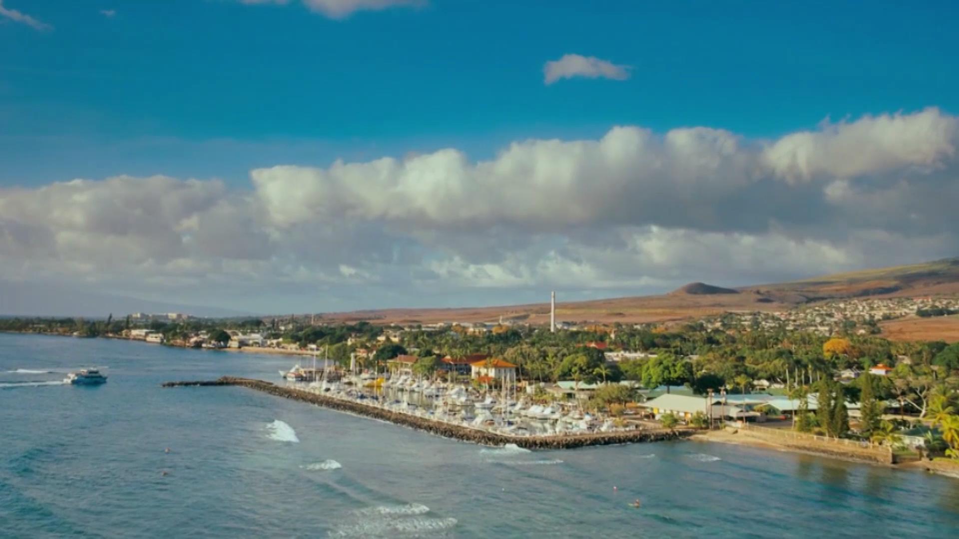 海边小镇航拍