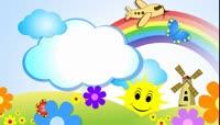 卡通太阳彩虹风车儿童舞蹈背景