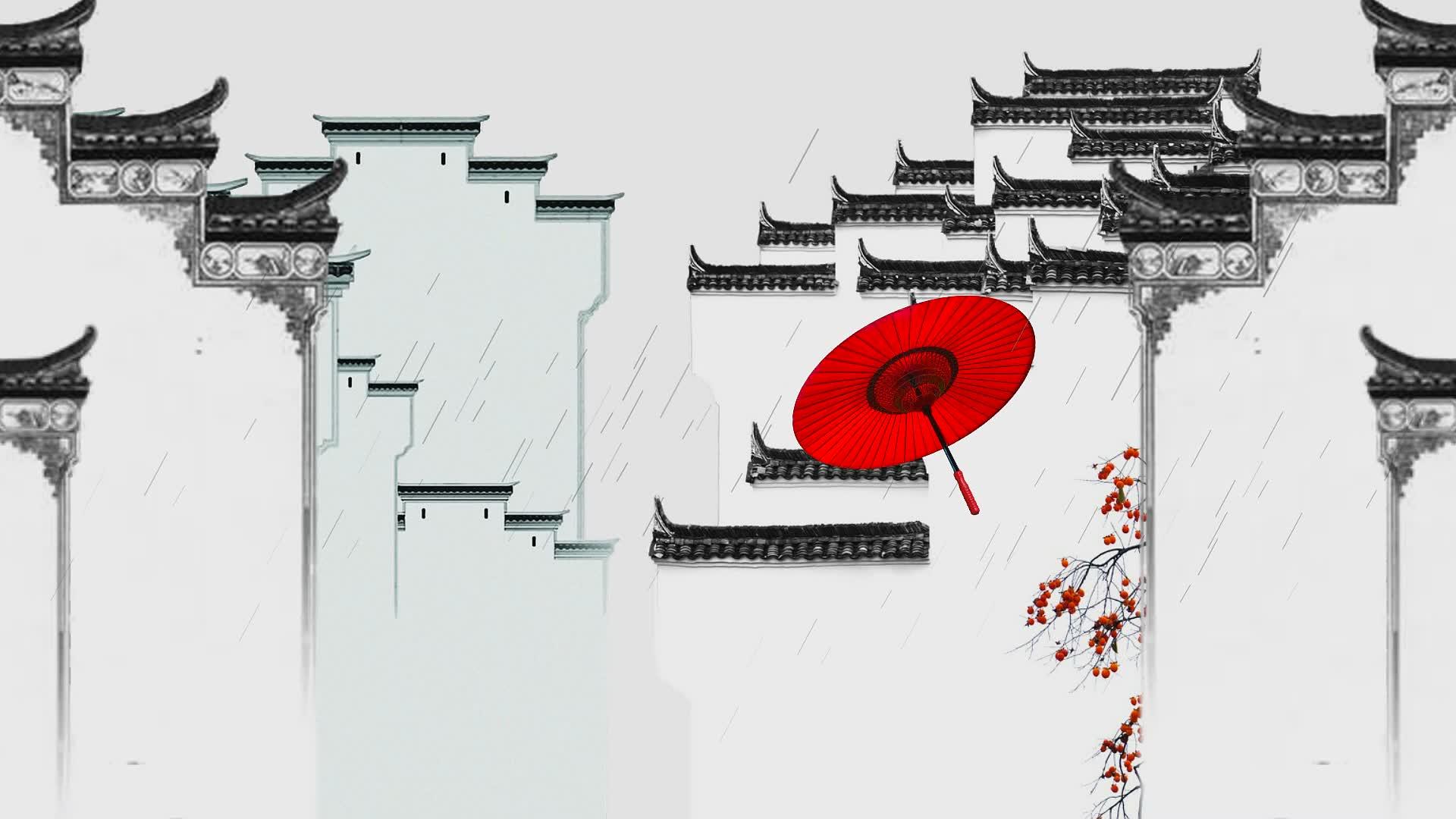 配乐成品 雨中 雨 江南景 江南雨 红雨伞 徽派建筑 花瓣雨