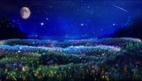 超唯美梦幻粒子月夜浪漫舞台视频
