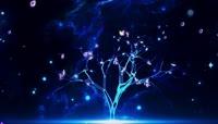梦幻荧光蝴蝶花瓣粒子飞舞大树开花舞台