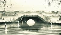 中国风水墨小桥流水典雅LED舞台