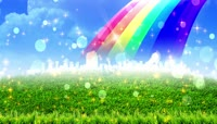 草地彩虹泡泡星光浪漫舞台