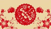 中国风红色剪纸福花纹蝴蝶新年春节晚会视频